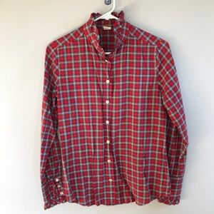 Women's plaid J.Crew long sleeve ruffled button up